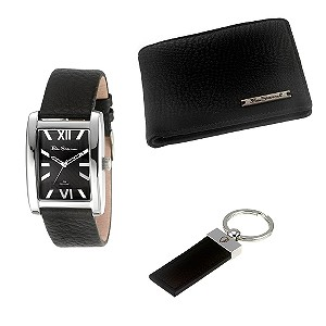 Men` Strap Watch, Wallet and Keyring Set