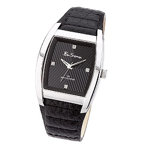 Men` Black Leather Strap Watch