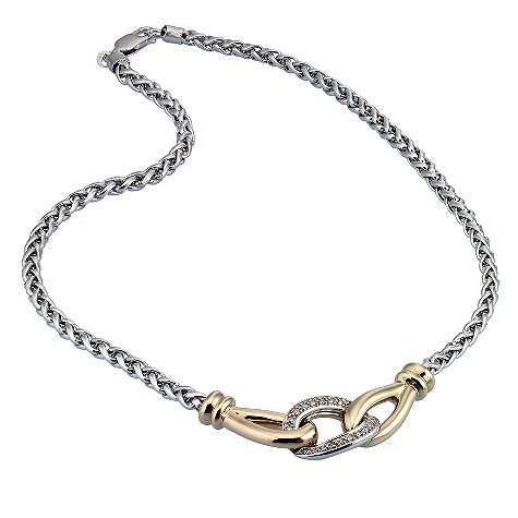 9ct gold and silver diamond set link necklace