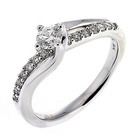 18ct white gold half carat diamond solitaire twist ring