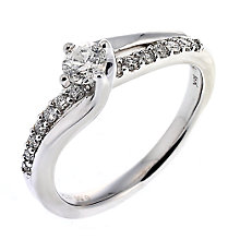 18ct white gold half carat diamond solitaire twist ring - Product number 6529992