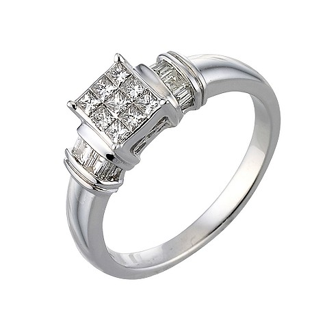Unbranded 18ct white gold third carat diamond cluster ring