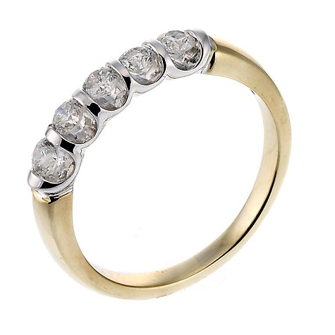 18ct two colour gold five stone half carat diamond ring