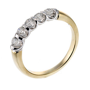 18ct two colour gold five stone one carat diamond ring - Product number 6530915