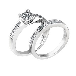 18ct white gold one carat princess cut diamond bridal set - Product number 6532683