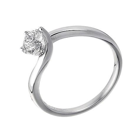 18ct white gold half carat diamond solitaire twist ring