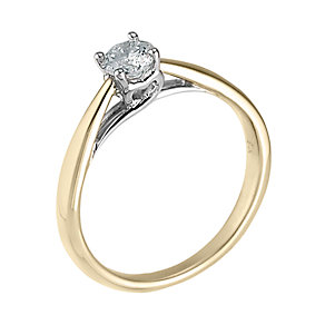9ct gold heart set quarter carat diamond solitaire ring - Product number 6533213