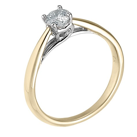 9ct gold heart set third carat diamond solitaire ring