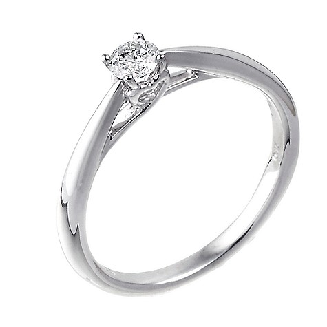 9ct white gold heart set 0.15 carat diamond solitaire ring