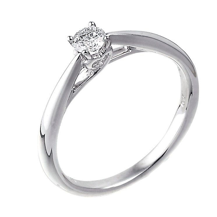 9ct white gold heart set 15 point diamond solitaire ring - Product number 6533612