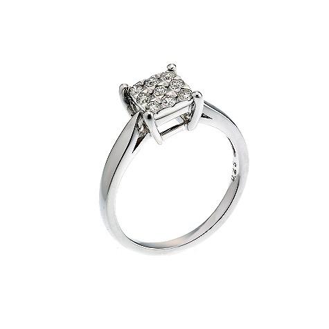 18ct white gold quarter carat diamond cluster ring