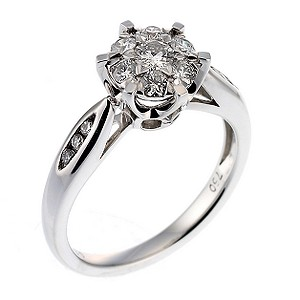 18ct white gold half carat diamond cluster ring - Product number 6536409