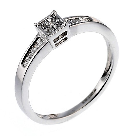 18ct white gold fifth carat diamond cluster ring