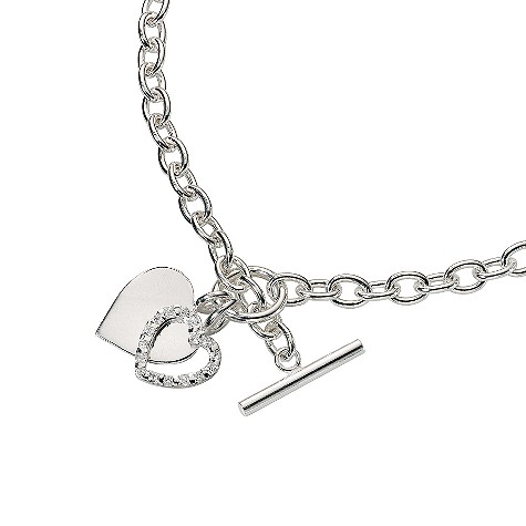 Sterling silver plain and cubic zirconia heart tag necklace