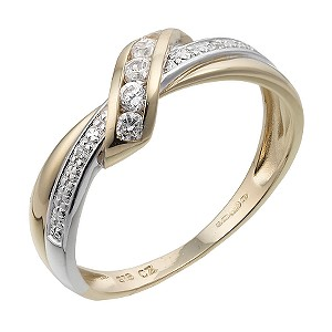 9ct Yellow Gold Cubic Zicronia Cross Over Ring