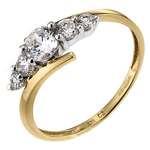 9ct Yellow Gold Cubic Zirconia Kick Ring