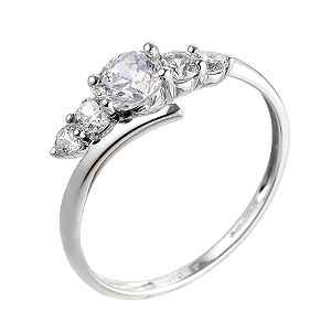 9ct White Gold Cubic Zirconia Kick Ring