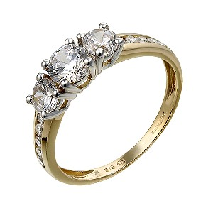 9ct Yellow Gold Three Cubic Zirconia Ring