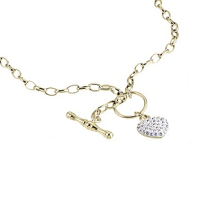 9ct Gold Crystal Glitter Heart T Bar 17 Albert Necklace