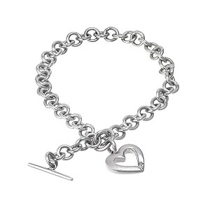 Hot Diamonds Sterling Silver Satin Open Heart Bracelet - Product number 6547745