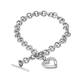 Hot Diamonds Sterling Silver Satin Heart Bracelet - Product number 6547745