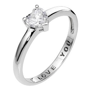 9ct White Gold I Love You Ring