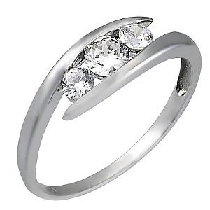 9ct White Gold Cubic Zirconia Three Stone Ring
