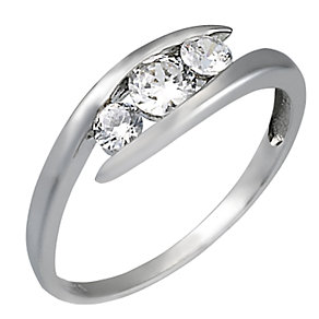 9ct White Gold Cubic Zirconia Three Stone Ring - Product number 6548393