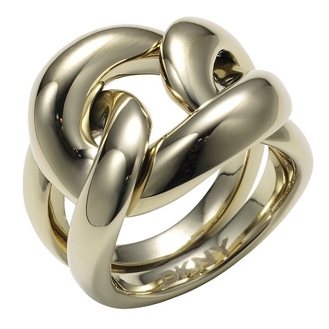 Organic gold coloured stainless steel ring