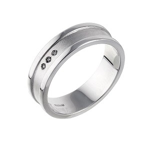 Hot Diamonds Sterling Silver Matt and Polished Ring - Large