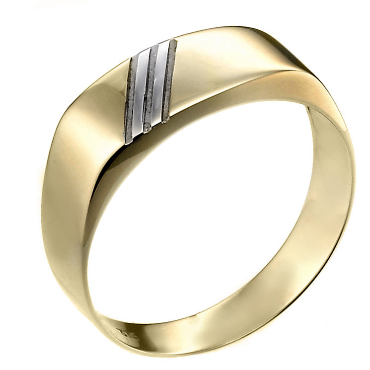 Men's 9ct Yellow Gold Diagonal Detail Ring - Product number 6553664