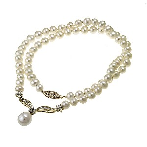 9ct Yellow Gold Freshwater Pearl Cubic Zirconia Necklace