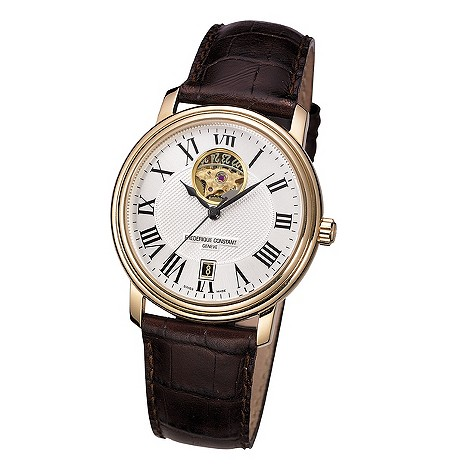 Frederique Constant men's brown leather strap watch - FC315M4P5