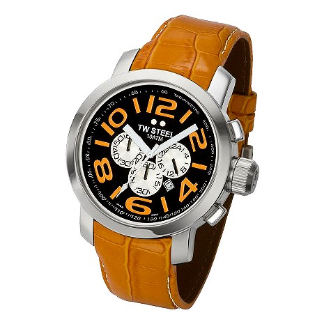 TW Steel orange leather strap watch