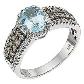Le Vian 14ct gold 0.50ct Chocolate Diamond & aquamarine ring - Product number 6575358