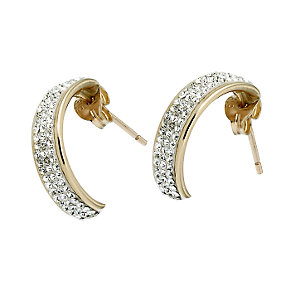 9ct Gold Rimmed Crystal Half Hoop Stud Earrings - Product number 6582613