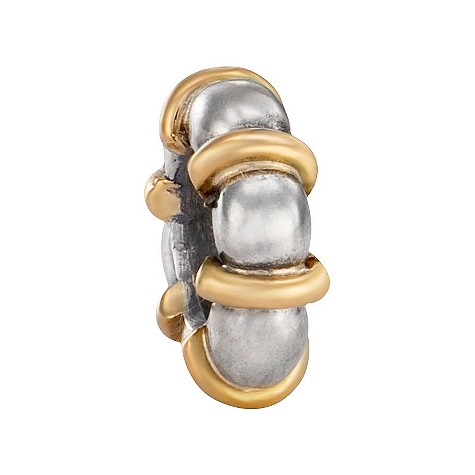 pandora sterling silver and 14ct gold braid bead