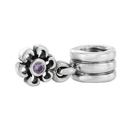 sterling silver and amethyst flower charm
