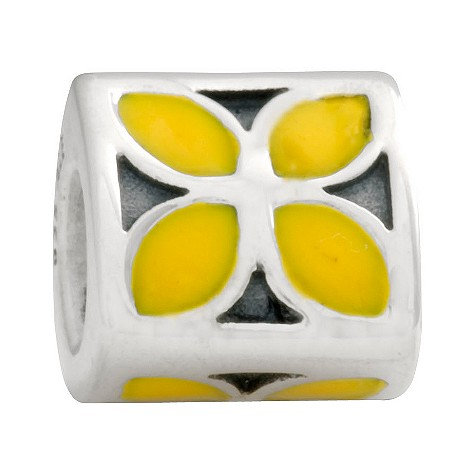 pandora sterling silver and enamel yellow flower