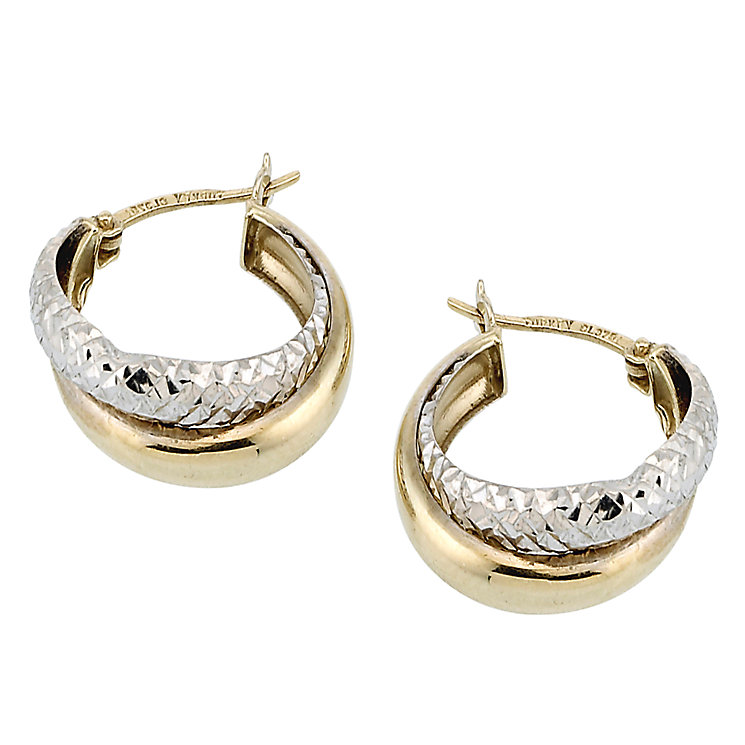 9ct Gold Two Colour Diamond Cut Double Creole Earrings - Product number 6619096