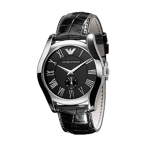 Emporio Armani men's black dial black leather strap watch - Product number 6619274