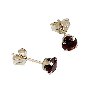 9ct Yellow Gold Garnet Stud Earring 4mm - Product number 6620221