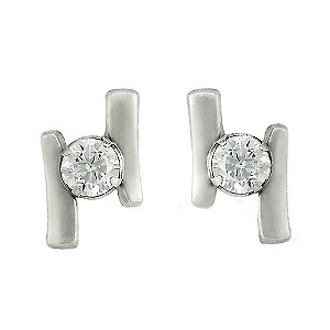 9ct White Gold Cubic Zirconia Double Bar Stud Earrings - Product number 6623514