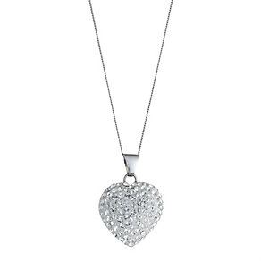 9ct White Gold Domed Crystal Heart Pendant - Product number 6625509