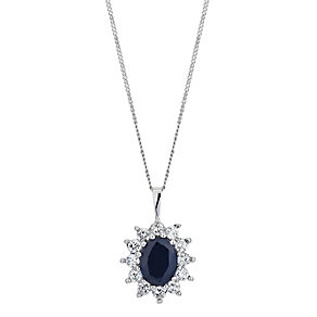 9ct White Gold Sapphire & Cubic Zirconia Cluster Pendant - Product number 6625533