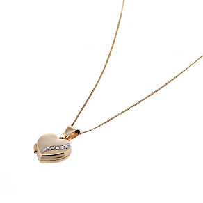 9ct Gold Diamond Set 10mm Heart Locket with 18