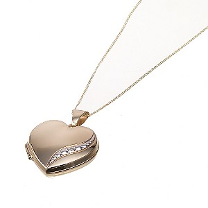 9ct Gold Diamond Set 18mm Heart Locket - Product number 6626041