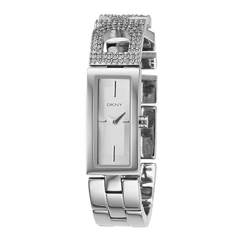 DKNY ladies' white dial stone set logo bracelet watch