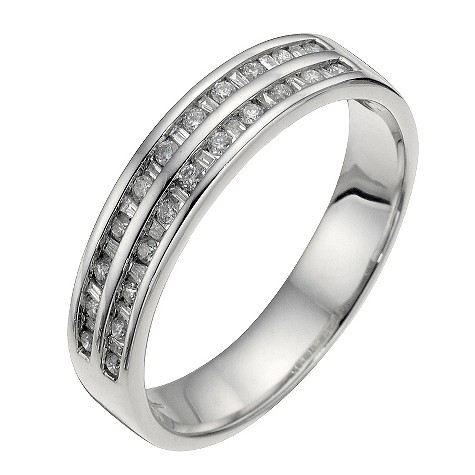 18ct white gold 1/4 carat diamond wedding ring