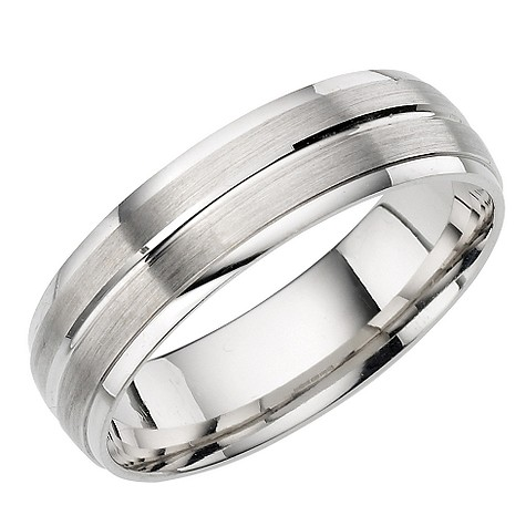 18ct White Gold Brushed and Polished Court Ring